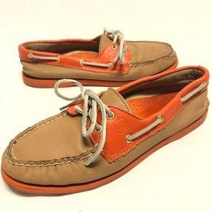 Sperry boat shoes size 8.5 orange & light tan